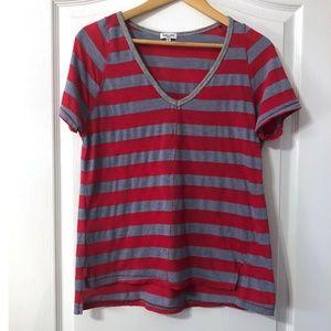 Splendid Striped V-Neck Shirt Size Small Red Gray